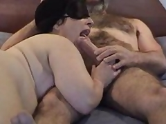 Masked fat mature wife gives nice sucking and licking  to her shaggy hubby\'s large rod - short but sweet