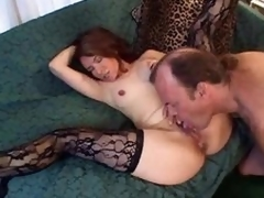 Licking and fingering her mature cookie