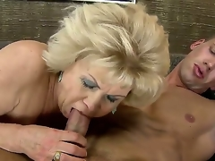 Blonde granny gets nailed with a giant young throbbing jock after giving an awesome head