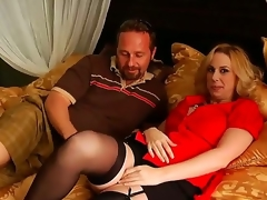 Arousing golden haired milf acquires her large scoops touched by a nasty and turned on lad