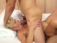 Insane granny named Malya gets a young and sexy cock in her bushy love tunnel