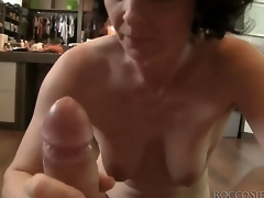 This aged housewife isnt ready to retire from sex yet, so she takes Roccos biggest jock in her mouth and shows her skills!
