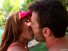 Wow! Check out Eva Nottys ideal pair of gigantic darksome tits! This wild milf is so breasty that babe doesnt need lifesavers for her lifeguard job. Manuel Ferrara is plan to love fucking her!