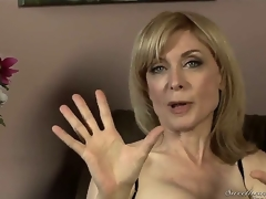 Nina Hartley might be mature, but shes still good looking in those hot stockings and lingerie! Youthful Dia Lewa interviews her about her experiences in the porn industry...