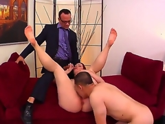 Cuckold redhead Melody Jordan with juicy zeppelins and gigantic round a-hole receives licked and fucked hard on couch in wild and spontaneous threesome with Kurt Lockwood and Erick Jover.