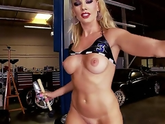 Smoking hot blonde bombshell Sandy with whorish enormous make up and nice firm hooters in red thong and lengthy boots teases with jaw dropping ass and stuffs slit with hammer.