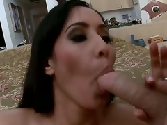 Isis is a rich and slutty MILF! After a sexy masturbation that babe decided to feel a large schlong in her holes!!! So that babe sucks it and receives in her pussy!!! So just see and have a fun people!