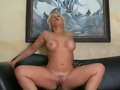 Very sexy and appetizing Milf golden-haired Sarah Vandella with the indescribable titties sucks the big dark instrument of her boss  that babe makes this very hot and with a pleasure! Then they fuck.