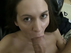 With POV type filming, this brunette is showing the suction in her jaws as that babe draws in deeply, engulfing on a thick shaft that will fill her throat. Angelina M goes after the sperm.