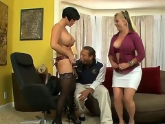 Joclyn Stone and Shay Fox are tired of lesbo sex and they have invited Chris, because they like to play with him. Chris is a strange fellow and he prefers to swallow massive dildos
