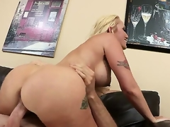 But excited and lonely Alana Evens gets more than just comfort from hung and hot Jordan Ash when she seeks advice, she gets to suck, tit stroke and ride his manly cock.