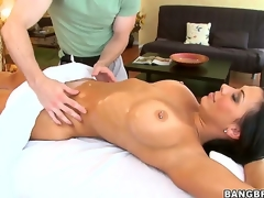 Sexy arse tempting dark haired pornstar milf Rachel Starr with massive stunning hooters and pierced nipp gets her steaming hot body oiled and massaged by immodest impressive masseur