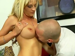 Turned on experienced seductive golden-haired milf Sindy Lange with giant stunning hooters and constricted ass in arousing lingerie gets her sweet cunt liked by younger lewd handsome stud
