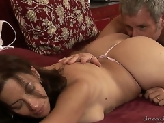 Turned on experienced pornstar Jay Crew enjoys licking attractive seductive dark brown milf Melissa Monet with large juicy butt and massive natural knockers in wild arousing session