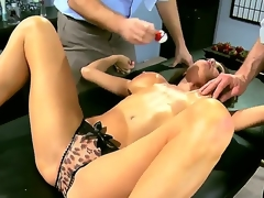 2 horny and indeed aroused studs Jordan Ash and Manuel Ferrara acquire their hands on a grogeous brunette milf in blue dress Veronica Avluv and strip her, revealing her large breasts