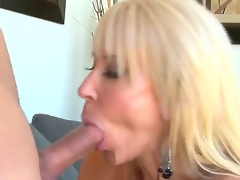 Provocative ramrod hungry experienced aged blond doxy Erica Lauren with big mounds and amazing blow job skills gets turned on and enjoys satisfying young muscled chap with unyielding ramrod