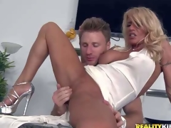 Shes a super hawt milf with blond hair and flawless lengthy slim legs. This hottie removes her white pants and gets her tight totally shaved twat finger fucked and fisted by MILF Hunter. He love sher tight hole