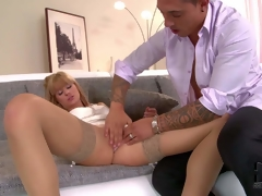 Stunning long haired Erica Fontes with natural boobs and skinny smoking sexy body in white short dress and nylons seduces handsome dude and acquires pink cum-hole licked to big O
