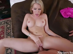 Courtney Cummz is a dangerously hawt wife with blonde hair and perfect boobs. MILF spreads her long legs wide and gets her pink gap drilled by her lucky spouse from your point of view