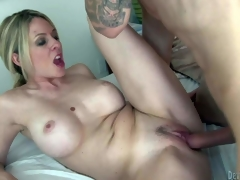 Fair-haired sexy woman Angela Attison is a MILF with huge whoppers and neat soaked pussy. Stacked golden-haired parts her legs and gets her vagina fucked inexperienced by tattooed young guy. She fucks the shit out of MILF
