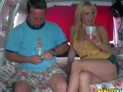 Provocative cheep looking golden-haired milf with agreeable ass and precious hooters in short concupiscent denim skirt gets lured by filthy experienced dude in his fuck van on a inactive afternoon
