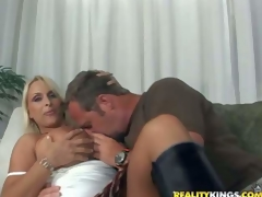 Hunky and concupiscent lad with a fetish for aged women seduces one truly hawt and arousing busty blonde milf and receives her to his apartment for a hawt knob riding session on the bed