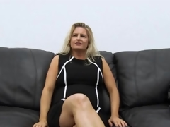 Curvy dilettante milf masturbates on casting couch