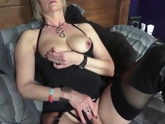 Black boots and underware on sexy blond aged