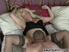 Nasty dilettante Milf homemade act with creampie