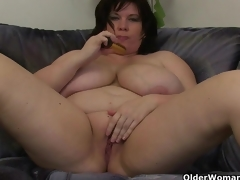Chubby mammas with large tits having solo sex