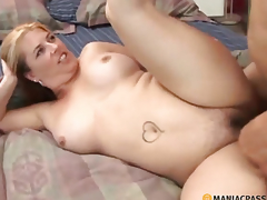 Woman with shaggy cum-hole fucking with a fellow