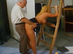 Blonde fucks with old boy