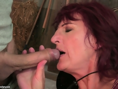 Extremely long cock rubs hairy pubis of old hoe and bonks her love tunnel