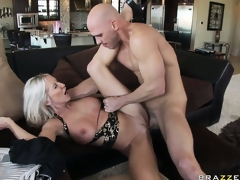 Lying on her back she gets drilled unfathomable in advance of welcoming his cum on her huges scoops