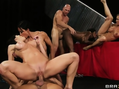 Busty bitches get their fine booty bodies pounded by 2 lucky dudes