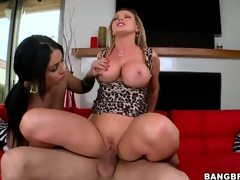 Step mamma gives her step daughter lessons on how to work a cock