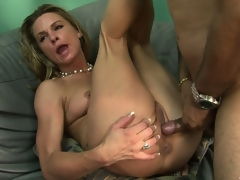 The hot blond spreads her lovely legs and allows that big dong deep in her love tunnel