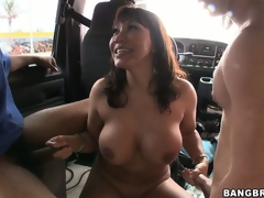 Gang-bang in the back of a bus with Ava Devine and 3 slutty cocks