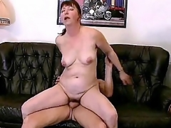 Horny bbw Miranda is always in for some good fucking. Her spouse came home from work late, but instead of scolding him this babe welcome him by working his cock with her mouth. She then starts climbing on top of his lap and humped it with her dripping cooze.