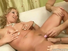 Granny and a naughty trull are sharing a cock