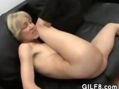 Slender Blonde Grandma Fucking And Facial