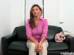 Sexy brunette babe goes crazy sucking jacket 16