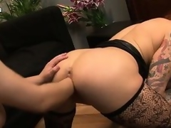 The morose tattooed babe with big tits and a fabulous butt gets their way twat fisted unfathomable