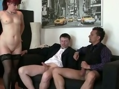 Morose granny fucked by two youthful living souls at the office