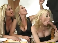 3 beautiful milfy blondes Tyler Faith. Holly Sampson and Tanya Tate are very curious about waiter Vooddoo and his large cock. They pull out his sausage and turn dinner into CFNM orgy! They blow. jerk off and ride his large dick with passion!