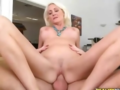 Hardcore sex with beautiful large titted blonde milf